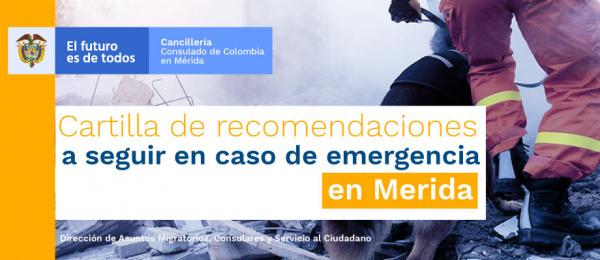 Cartilla de recomendaciones en caso de emergencia por desastres naturales