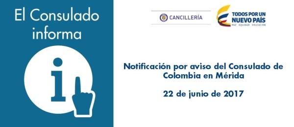Notificación por aviso del Consulado en Mérida