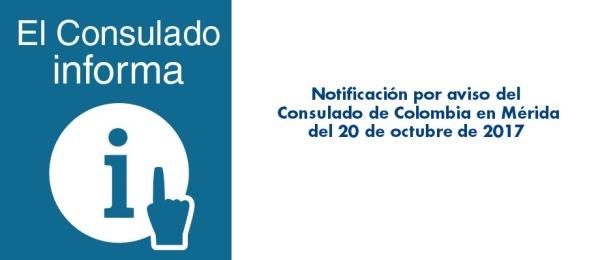 Notificación por aviso del Consulado de Colombia en Mérida del 20 de octubre